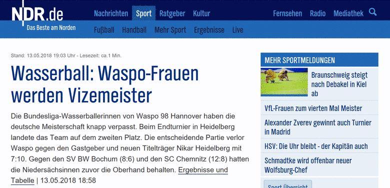 Waspo98-Frauen erneut mit Silber dekoriert